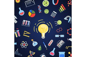 Vector flat style science icons lightbulb concept