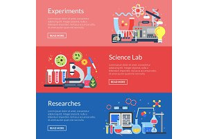 Vector web banner templates with flat style science icons