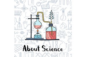 Vector sketched science or chemistry elements science elements background