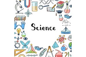 Vector sketched science or chemistry elements