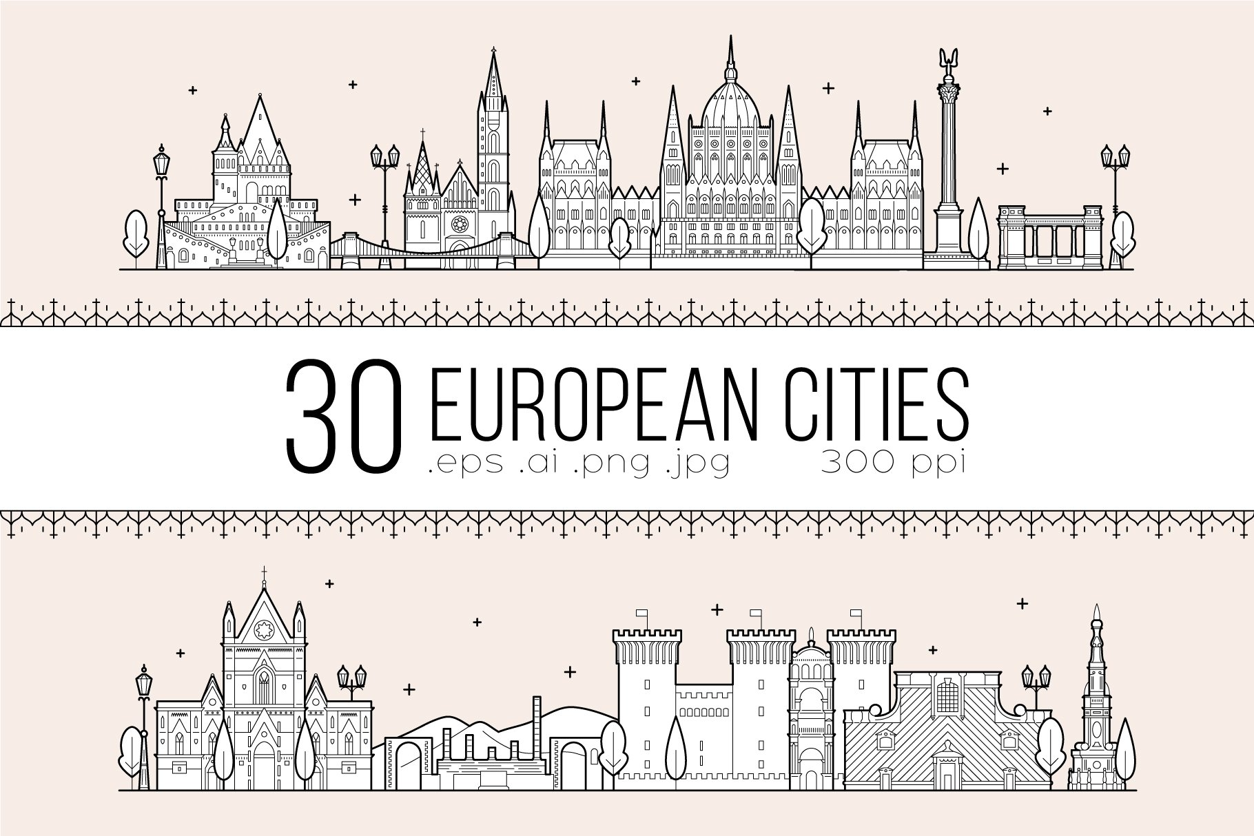 Collection of 30 European cities ~ Illustrations ~ Creative
