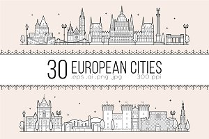 Collection of 30 European cities