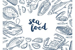 Vector background illustration with hand drawn seafood elements