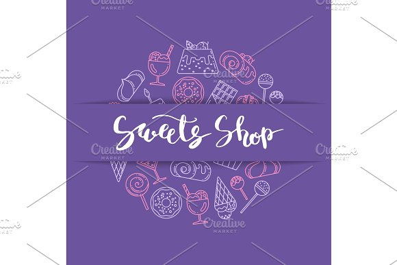 Vector Linear Style Sweets Icons