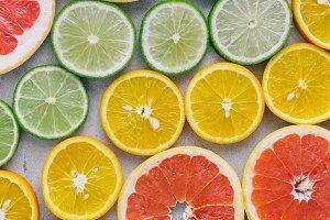 sliced citrus fruit Summer backgroun