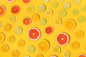 Top view sliced citrus fruit