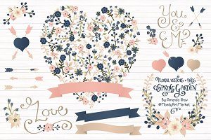 Navy & Blush Floral Heart & Banner