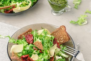 Frisee lettuce salad with pesto