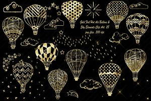 Gold Foil Hot Air Balloons, Sky, Etc