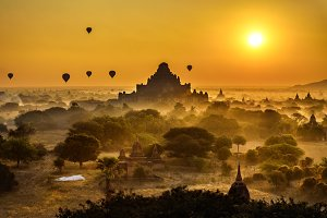 Scenic sunrise above Bagan in Myanmar