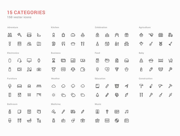 150 Handcrafted Icons Set