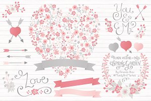 Pink & Grey Floral Heart & Banners