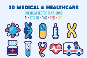 30 Medical Flat Icons Good for Logo