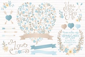 Soft Blue Floral Heart & Banners