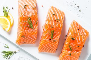 Fresh fish. Salmon fillet on white.