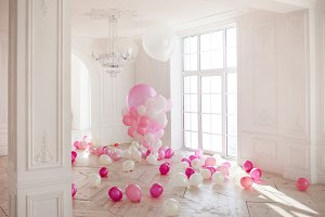 Luxurious room and pink balloons