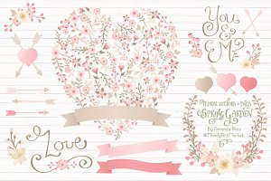 Soft Pink Floral Heart & Banners