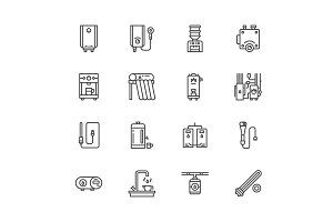 Water Heaters Line Icons