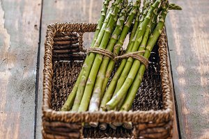 Bunches of fresh asparagus
