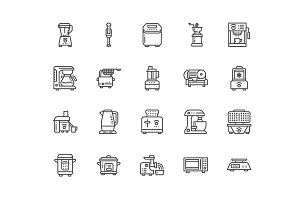 Kitchen Appliances Line Icons