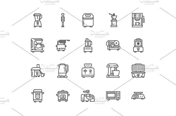 Kitchen Appliances Line Icons