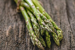 Fresh raw green asparagus