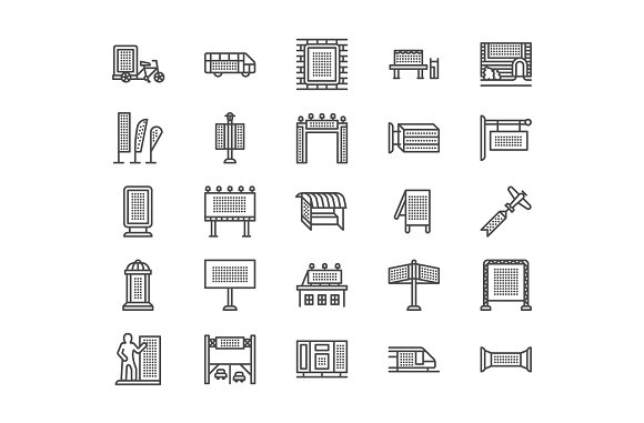 Outdoor Advertising Line Icons
