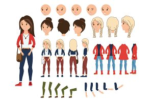 Girl character creation set vector illustration. Female constructor with various emotion on face, hand, leg, pose, hairstyle. Front, side, back view animated teenager with bag over shoulder