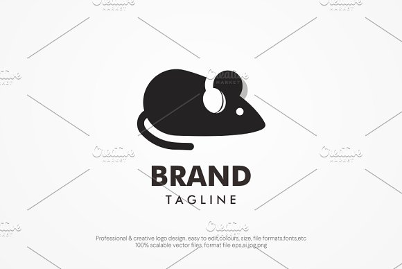 Mouse And Music Logo Template