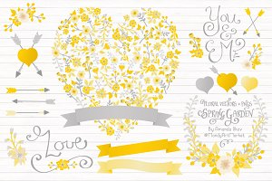 Sunny Yellow Floral Heart & Banners