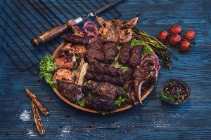 Grilled different meat