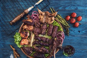 Grilled different meat set