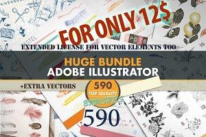 Mega brushes bundle for Illustrator