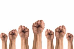People Fists raised fighting