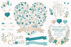 Vintage Blue Floral Heart & Banners