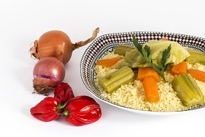 Moroccan cuscus homemade.Isolated