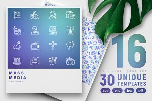 Mass Media Icons Set | 30 Templates