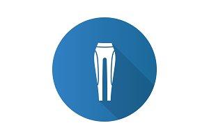 Women's sports pants flat design long shadow glyph icon