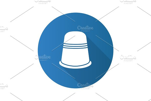 Sewing Thimble Flat Design Long Shadow Glyph Icon