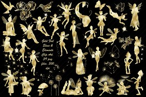 Gold Foil Elves & Elements ClipArt