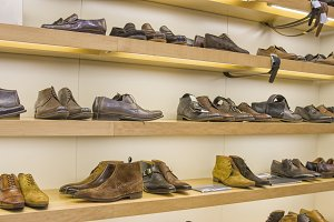 Leather man's shoes on display