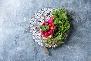 Salad in dragon fruit
