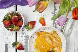 Crepe suzette, traditional french pancakes with orange syrup