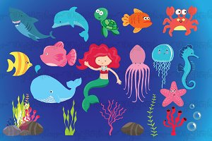 Under the Sea Clipart EPS Vectors