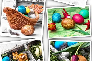 collage with colorful Easter eggs