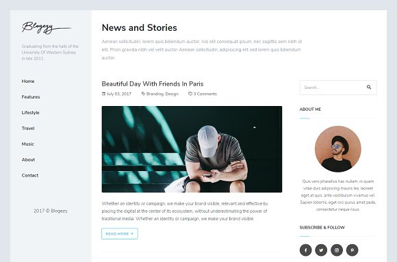 Blogezy HTML5 Blog Template