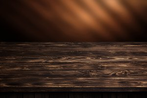 Dark wood table, brown wooden perspective interior