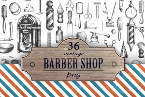 """Vintage Barbershop"" PNG set"
