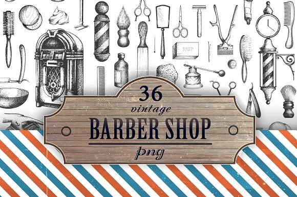 Vintage Barbershop PNG Set