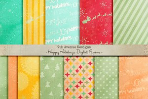 Happy Holidays Digital Paper